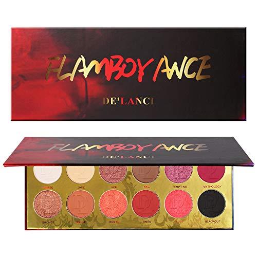 DE'LANCI Paleta de sombras de ojos, 12 colores de maquillaje Brillo mate de alta duración Brillo de larga duración Kit de maquillaje en polvo para las sombras de ojos