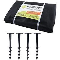 Sandkastenvlies XXL 3,2 x 3,2 m schwarz - Schutzvlies für Sandkasten und 4 x Erdanker