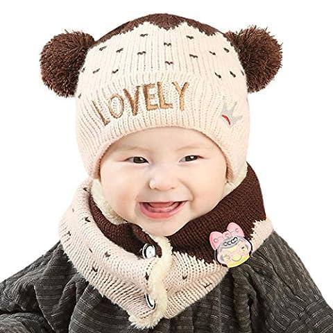 Unisex Baby Jungen Mädchen Kinder Newborn Mütze wintermütze hut Schal Mit Knöpfen