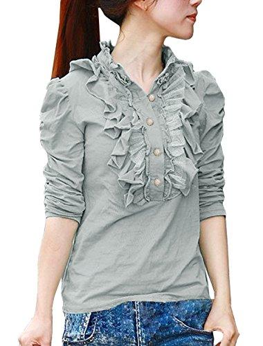 sourcingmap® Allegra K Damen Rüsche Stehkragen Langarm Knopf Top Bluse Shirt Grau