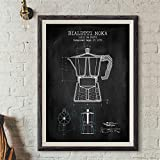 Poster,Coffee Pot Posters and Prints,Poster Coffee Blueprint Art Picture Canvas Painting Kitchen Wall Art Decor 20X27Inch(50X70Cm)