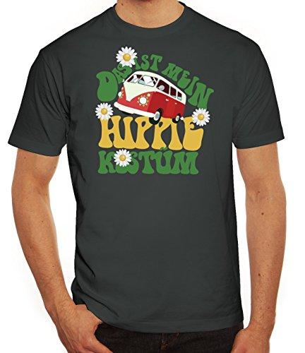 ShirtStreet Fasching Karneval Herren T-Shirt mit Das ist Mein Hippie Kostüm Motiv, Größe: XXL,Darkgrey (70er Jahre Motto Kostüme Ideen)