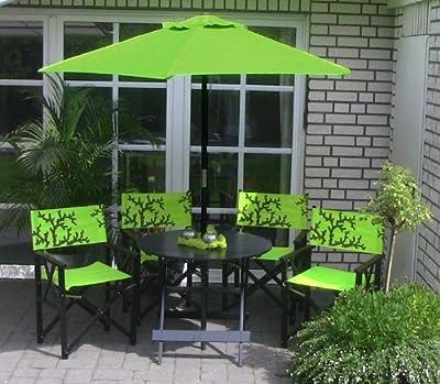 LECO 29210107 Bari 4 Regiestühle, 1 Tisch ø 85 cm und 1 Schirm ø 2 m, grün / schwarz