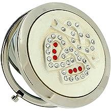 Fmg argento placcato rotondo specchio compatto con cuori intrecciati, set con cristalli della copertura SC601