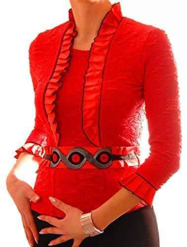 PoshTops Damen mit Gefalteter Kragen Befestigter Gürtel Dehnbares Material Damenshirt 3/4 Ärmel Größen S – XXXL Abendkleidung Freizeitkleidung Plus Size Kleidung (Koralle, M / 40) (Seide Size Strickjacke Plus)