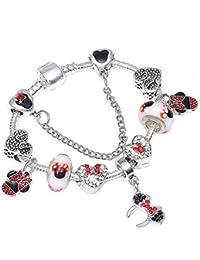 GSYDSZ Estilo de Dibujos Animados de Moda de Cristal Pulseras de los encantos Plateado Mickey Beads Marca Pulseras y brazaletes de la…