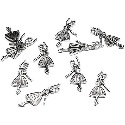 Beads Unlimited-32 cm x 13 cm x 2 mm, motivo Ballerina in metallo, gioiello a forma di cuore, confezione da 20, colore: argento antico
