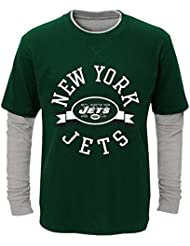 "New York Jets Youth Jeunes NFL ""Definitive"" L/S Faux Layer Thermal shirt Chemise"
