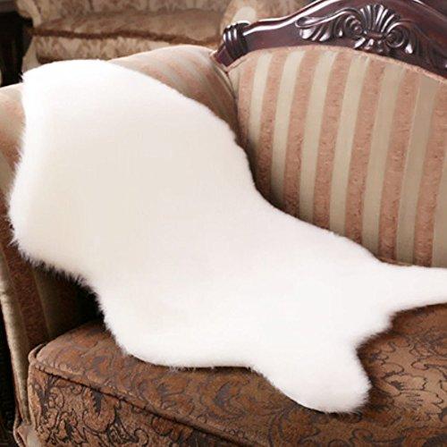 INGHU Super weiche Kunstfell-Decke aus Kunstfell, für Sofa Couch Casper Schminkstuhl/Stuhl, waschbar, Rutschfest, flauschig, weiß, Free Size