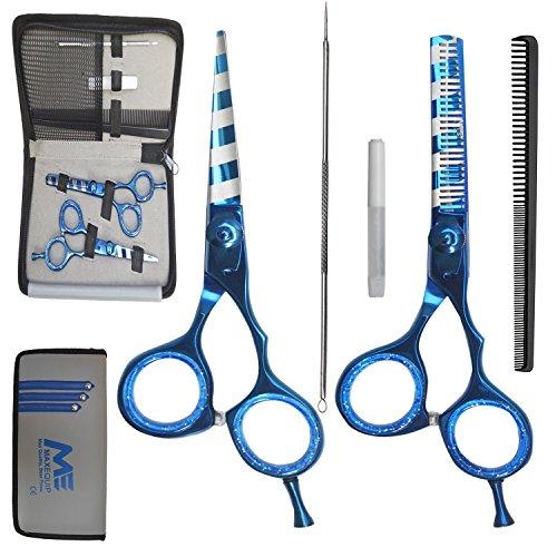 Friseur Barber Schere 5x Geschenk-Set–Scheren/thinningscissor/Kamm/, Öl/Mitesserentferner/Passender Tasche Profi Qualität Aqua Blau