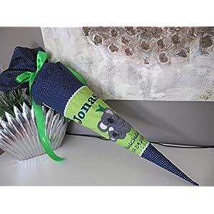 #72 Koala Koalabär grün-blau Schultüte Stoff + Papprohling + als Kissen verwendbar