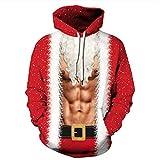 TIFIY Weihnachtspullover Herren,TIFI Unisex 3D Dedruckt Kapuzenpullover Winter Neuheit Sweatshirt Langarm Mit Kapuze Mantel Oberteile Jumper(C,EU 50/CN XL)