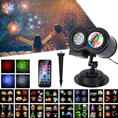 Lámpara de Proyector LED, ALED LIGHT Impermeable Onda de Agua Exterior y Gobos Giratorios Decoración de Luz de Proyección Doble Luz de Proyector de Paisaje con Control Remoto y 16 Diapositivas de Patrón Animado para Fiesta, Navidad, Halloween, Festivos