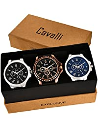 Cavalli Analogue Multi-Colour Dial Men'S And Boy'S Watch-Combo Of 3 Exclusive Watches-CW340