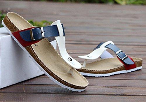 Unisex-Erwachsene Zehentrenner - Sandalen, Pantoletten mit Korkfußbett Weiß Blau Rot