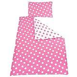 TupTam Kinder Bettwäsche Set Wendebettwäsche 100x135 2 tlg, Farbe: Große Sterne Rosa/Weiß, Größe: 135x100 cm