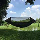 WLHW Hängematte Moskitonetz Outdoor Camping Reise Bug Net Camping Hängematte | Tragfähigkeit 200kg Tragbares Schnell trocknendes Fallschirm-Nylon für im Freien Innengarten-Schwarzes