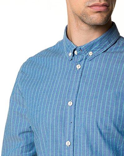 BLZ Jeans - Chemise Homme Bleue Rayures Vertes Bleu