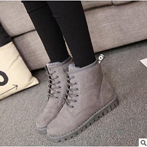 HSXZ Scarpe donna pu Autunno Inverno Comfort stivali Flat Round Toe stivaletti/stivaletti di abbigliamento casual Rosso Giallo grigio nero Gray