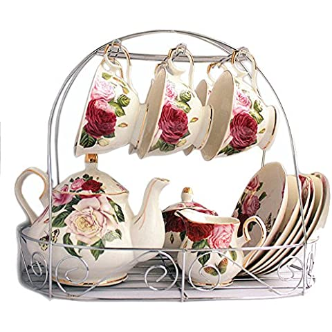 juego de té Europeo De Porcelana De Estilo, La Mariposa Se Detiene En La Flor Impresa De Cerámica De Porcelana Taza De Té Con Tapa Y Platillo, soporte de metal en la foto no está