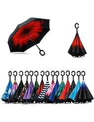 Jooayou Parapluie Inversé, Anti-UV Double Couche Coupe-Vent Parapluie , Mains Libres poignée en forme C Parapluie