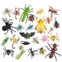 TUPARKA 27 PCS Mini Plastic Insect Figures Toys Insects Bugs Lifelike Beetle Lizard Bee Animal Model Gag Toys for Insect Themed Party Children Educational Halloween Party, Random Style