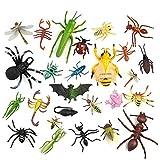 TUPARKA 27 Stück Insekten Figuren Plastik Lebensechte Spielzeug Realistische Käfer Echse Biene Tiermodell Knebel Spielzeug für Kinder Halloween Party Geschenke Schule Erziehungsspielzeug