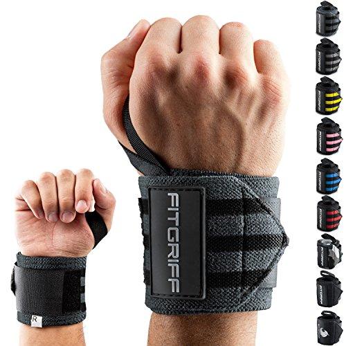 Fitgriff Handgelenk Bandagen [Wrist Wraps] 45 cm Handgelenkbandage für Fitness, Bodybuilding, Kraftsport & Crossfit - für Frauen und Männer - 2 Jahre Gewährleistung (Grau) -