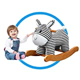 Labebe Baby Schaukelpferd Holz, Schaukelpferd Plüsch, Schaukeltier Zebra mit Streifen für Baby 1-3 Jahre Alt, Kleinkind Schaukel Baby/Schaukel Pferd/Indoor Schaukel&Garten/Baby Schaukeltier Gestreift