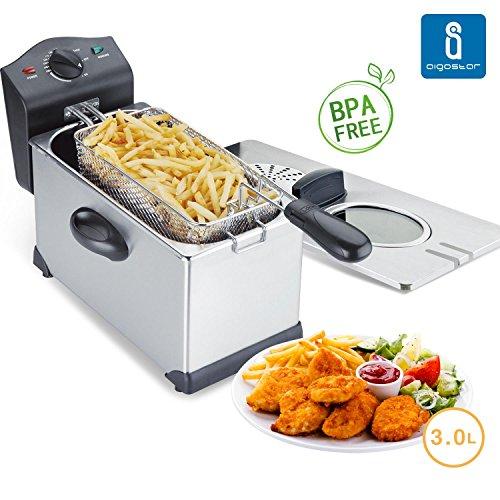 Aigostar Ushas 30HEZ - Semi-professionelle Fritteuse, Edelstahl, 2200 Watt, 3 Liter. Garantie und Qualität. BPA-frei.