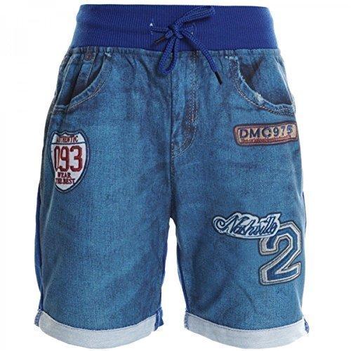 Ragazzo Bambino Cargo Pantaloni Corti Bermuda Shorts Capri Vintage Sport Elastico 20386 - blu, 8 Anni / 128