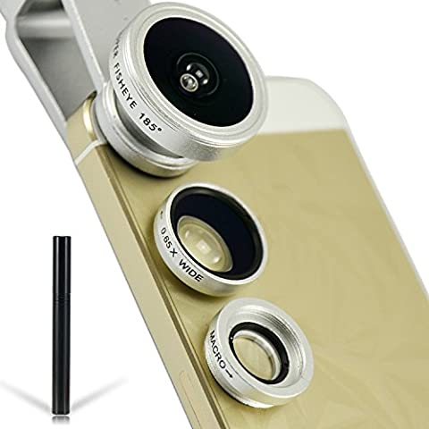 First2savvv JTST-089-A16F1 Universal Teléfono professional Lente,185 grados ojo de pez, 0.65X gran angular,10X macro para Samsung Galaxy Note Edge Note 4 3 2 S5 mini S5 S6 S6 edge ALPHA K zoom S4 S4 mini A3 A5 CORE Max LG OPTIMUS L5 ii E460 L7 II P710 G2 D802 Nexus 5 D821 G-Flex D955 ALCATEL POP S7/C9/C7 /2 (5)PIXI 3 + 1 x lápiz óptico negro