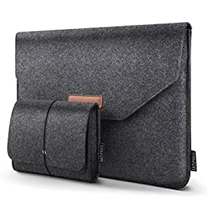 "HOMIEE 13-13.3 Inch Laptop Sleeve, Felt MacBook Protective Cover Case for MacBook Pro Retina, MacBook Air, 12.9"" iPad Pro, Dell/Lenovo/HP/Chromebook Ultra Slim Notebook, Dark Gray"