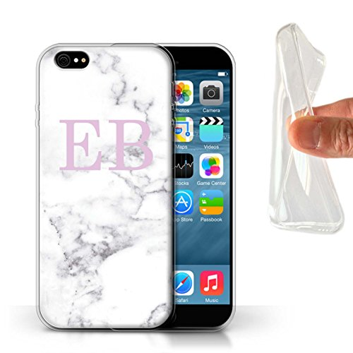 Personalisiert Weiß Marmor Mode Gel/TPU Hülle für Apple iPhone X/10 / Gerahmt Gold Marke Design / Initiale/Name/Text Schutzhülle/Case/Etui Rosa Stempel