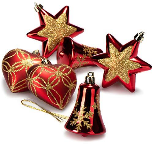 com-four® 6X Weihnachtskugeln, Christbaumkugeln aus bruchsicherem Kunststoff für Weihnachten, Sterne, Herzen und Glocken, Baumschmuck für den Christbaum (06 Stück - rot/Gold)