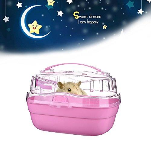 Transport facile transparente Cage à hamster avec bouteille d'eau intégré pour animal de petite taille