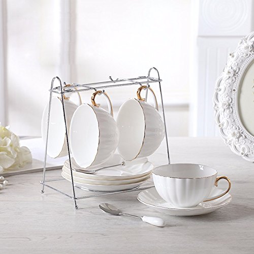 Batman Beste Anzüge (AJUNR-Feine Mode Weißes Gold Kaffee Tasse Set Haushalt Kaffee Bone China Kaffeetasse Teller Löffel Rack)