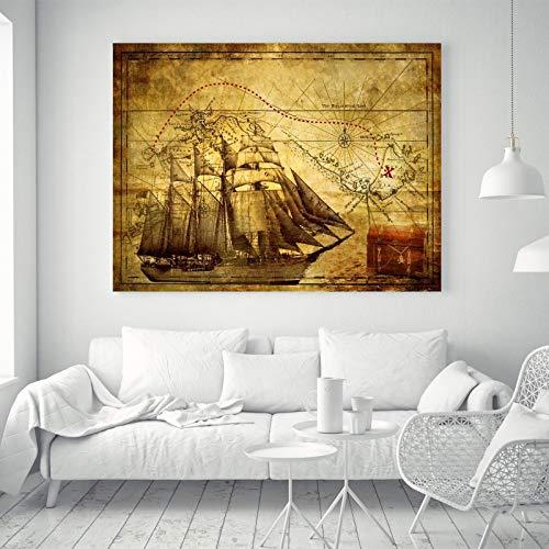 hiff Schatz Weltkarte Vintage Silk Leinwand Poster Stoff Farbe Dekor 43A S: 24 x 16 Zoll ()