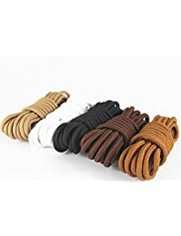 Saron- Laces de encerados, colores, multicolores, redondas - Zapatos de cordones para Business. 80~140 cm de largo, 5 mm de diámetro (120 cm, Rojo - marrón)