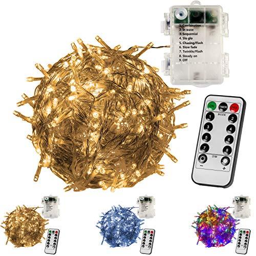 VOLTRONIC® 100 LED Lichterkette, BATTERIEBETRIEBEN, mit Timer, 8 Programme, optional mit Fernbedienung, für innen und außen, erhältlich in: warmweiß/kaltweiß/bunt, IP44, 8 Leuchtmodi, Outdoor