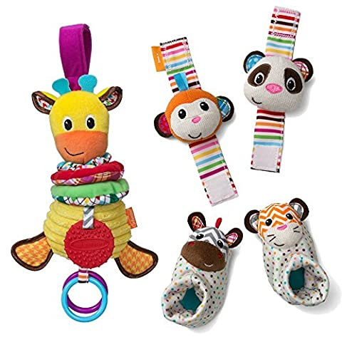Infantino See Play Go Toy Bundle Foot and Wrist Rattles, Musical Giraffe