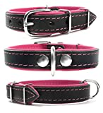 Zweifarbiges Echt Leder Hundehalsband S M L XL XXL für kleine bis sehr große Hunde schwarz pink L