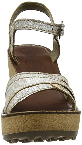 FLY London Gort645, Sandales Compensées Femme Blanc Cassé (Pearl 012)