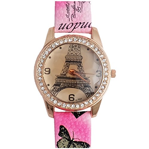 Super Drool ST2491_WT_PINK Little Eiffel Analog Watch For Girls