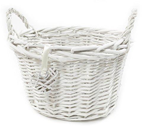 Obstkorb aus Rattan, Farbe: Weiß-Grau, Shabby Chic, Weihnachtskorb, weiß, Set of 2 Large (O) (Wicker Körbe Große Storage)