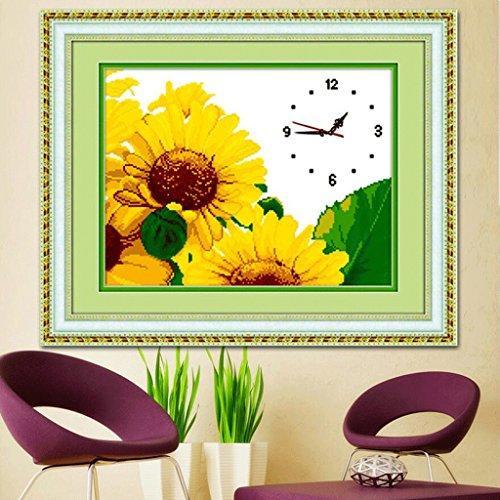 ZLR Mode Wanduhr Sonnenblume Kreuzstich Wanduhr Wohnzimmer Wanduhr Stickerei Hängenden Uhr