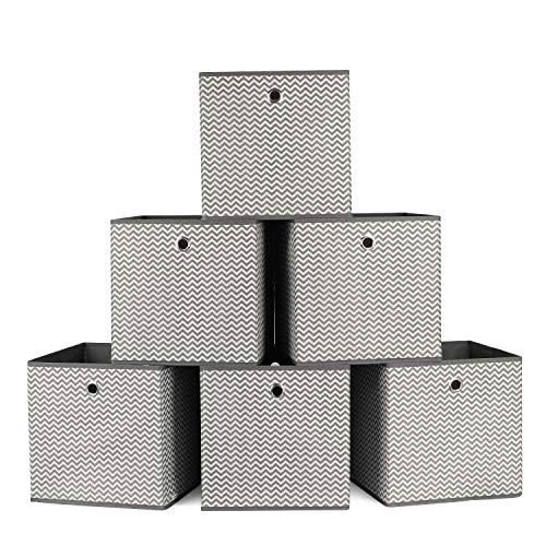 Homfa 6 Stück Aufbewahrungsbox Faltbox Regalbox ohne Deckel aus Stoff 6er-Set Grau 30x30x30cm