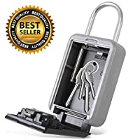 Padlock Key Safe Security Box - Realtor Hanging Steel Metal Coded Key Holder Keeper Cabinet w/ 4-Digit Combination Code Lock, Up to 5 Spare Door Keys Storage, Home Safety Use - SereneLife SLSFKEY27