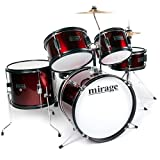 Mirage JDK 5 Piece Junior Drum Kit With Stool and Sticks - Wine