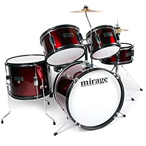 Mirage JDK 5 Piece Junior Drum Kit With Stool and Sticks - Red